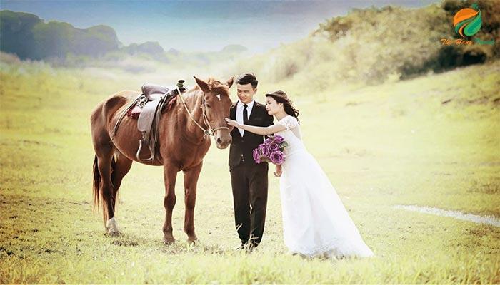 Chụp ảnh cưới ở bãi đá sông Đà